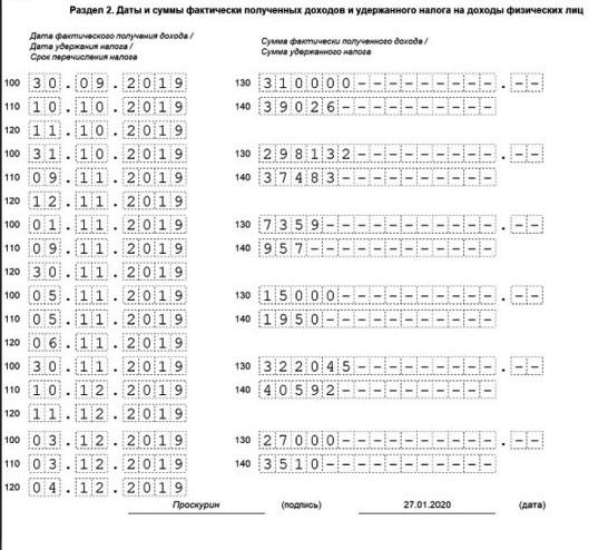Раздел 2 формы 6-НДФЛ