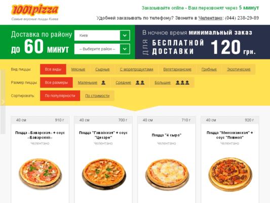 Как сделать заказ пиццы