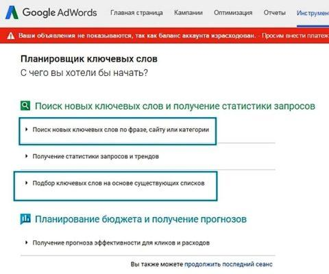 Статистика ключевых слов Google Adwords