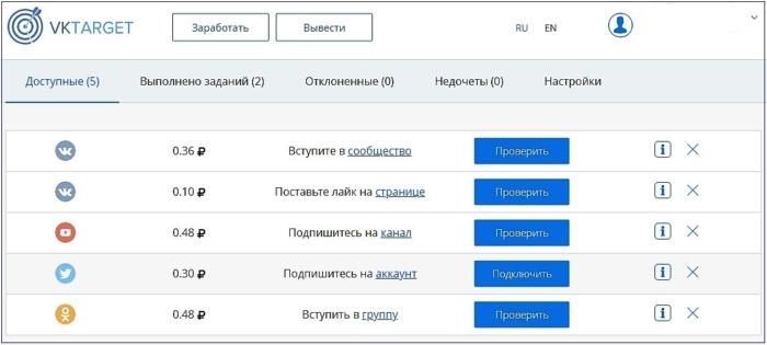 Пример заработка в ВКонтакте