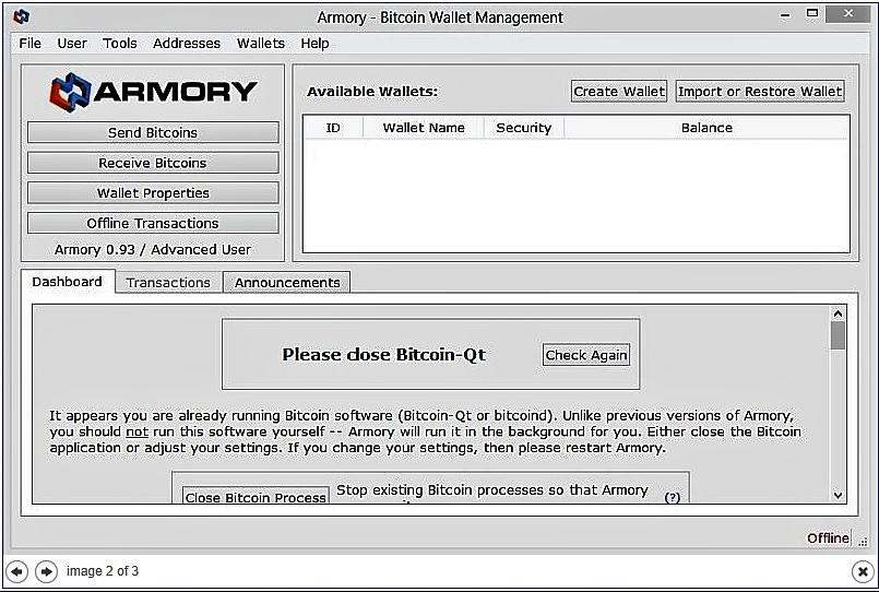 Биткоин-кошелек Armory