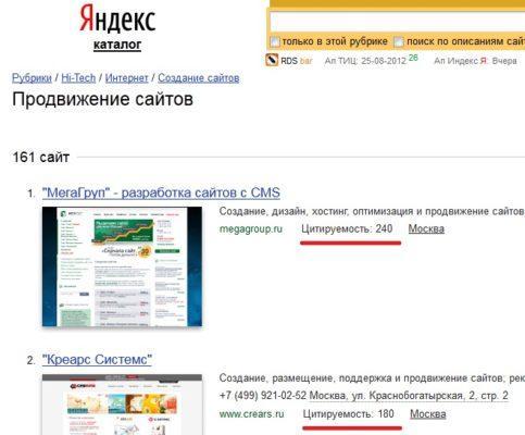 яндекс.каталог и цитирование