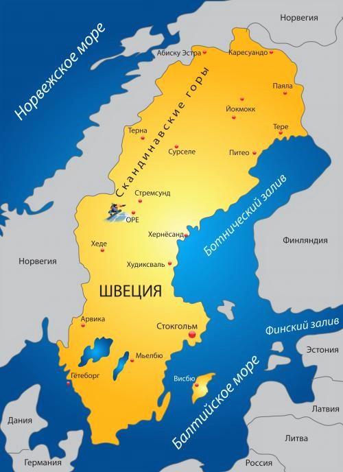Швеция на карте мира