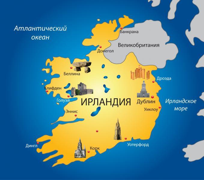 Ирландия на карте мира